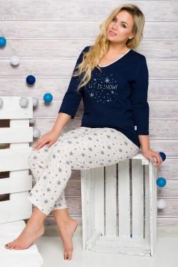 Dámské pyžamo 146 Lena blue-ecru
