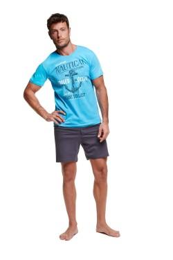 Pánské pyžamo 7301 Wave light blue